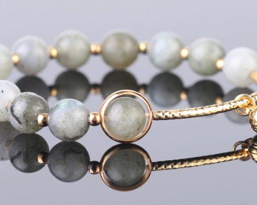 Bracelet perle Labradorite gris pour Femme