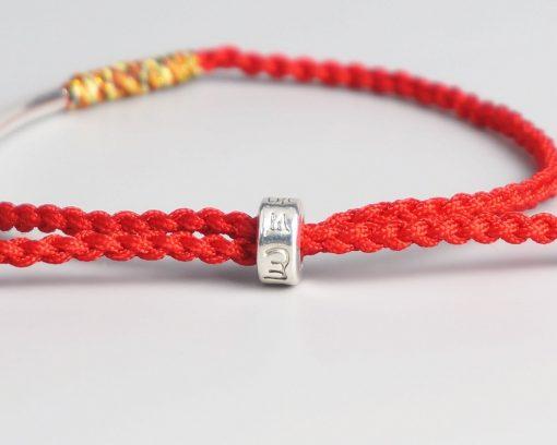 Fermoir Bracelet Tibetain Rouge Tressé à la Main