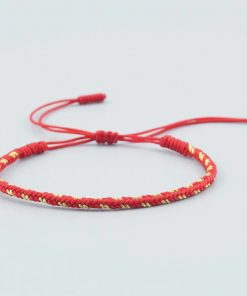 Bracelet de la chance Tibetain traditionnel rouge et jaune