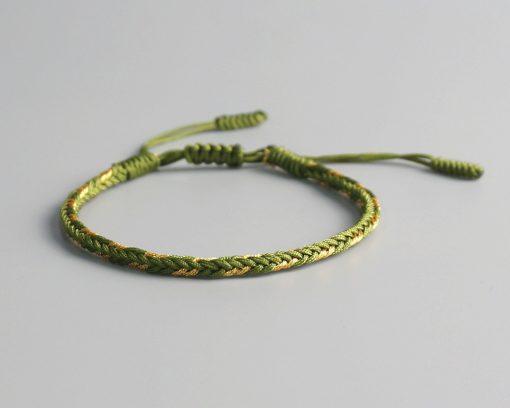 Bracelet de la chance Tibetain traditionnel vert et jaune