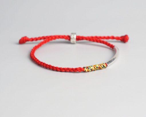 Bracelet Tibetain Rouge Tressé à la Main
