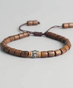 Bracelet Tibétain en Bois avec roue de prière