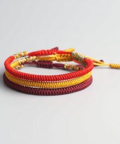 Pack 3 bracelet porte bonheur tibétain pourpre, rouge et or