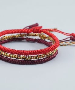 Pack bracelet tibétain rouge