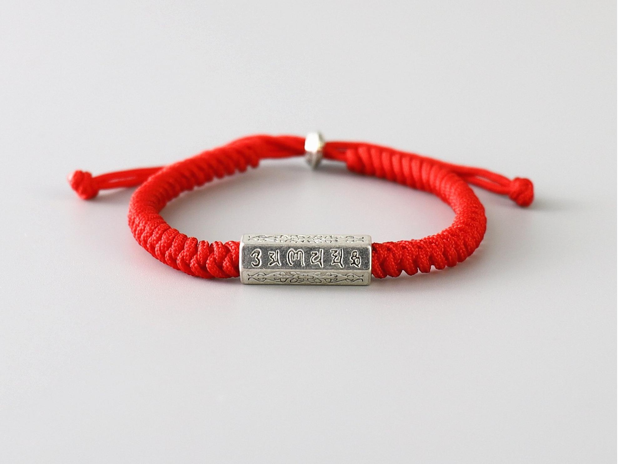 Bracelet Tibétain Rouge Tressé