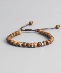Bracelet tibétain en Perles de Bois de Santal