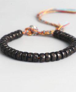 Bracelet en Noix de Coco Bouddhiste Tibétain Om Mani