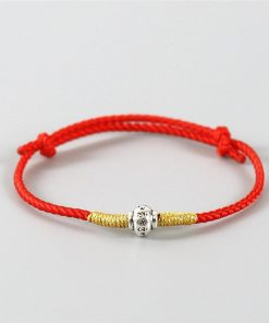 Bracelet tibétain artisanal rouge